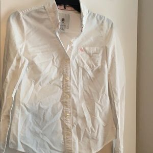 Abercrombie white button up collared shirt M